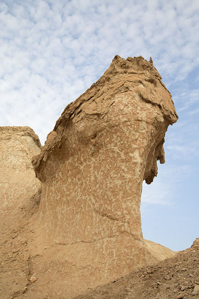 Looking up an eroded rock on Qara mountain | Al Qara mountain | 沙乌地阿拉伯
