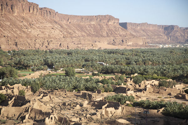 View over the palm trees and ruins of farms across the road, seen from the castle of the old town | Al Ula oude stad | Saoedi Arabië