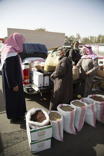 Picture of Selling various kinds of coffee at the Friday Market of HailHail - Saudi Arabia