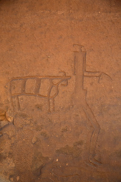 Foto van Human and ox carved on a rock near Jubbah - Saoedi Arabië - Azië