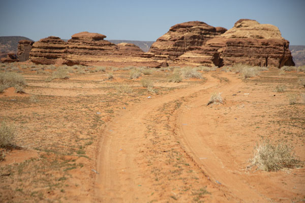 Picture of Track near Mushroom Rock with rock formations in the distanceAbu Rakah - Saudi Arabia