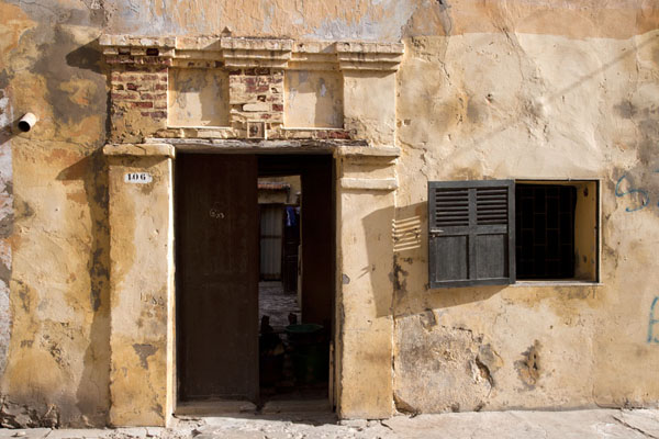 Door and window in a house typical for Saint Louis | Saint Louis Sénégal | Senegal