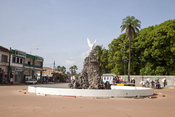 Picture of The John Paul II square with white dove statue in the middleZiguinchor - Senegal