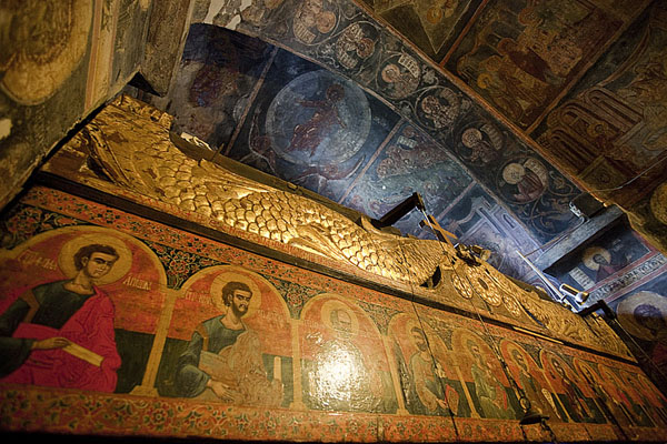 Picture of Looking up the upper part of the iconostasis of Crna Reka church with part of the ceiling in the background - Serbia - Europe