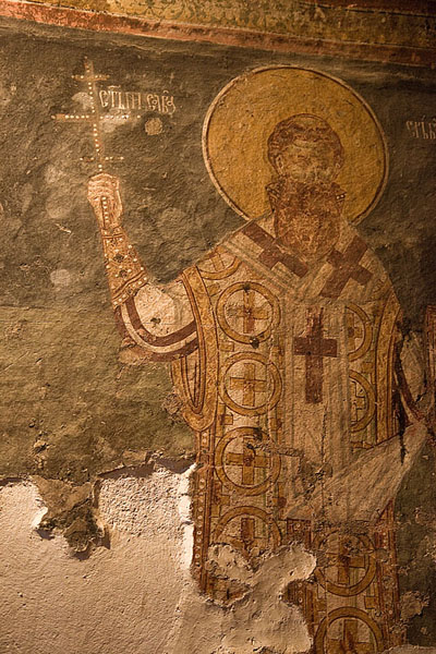Detail of the wall painting in the nave of Crna Reka church | Crna Reka monastery | Serbia