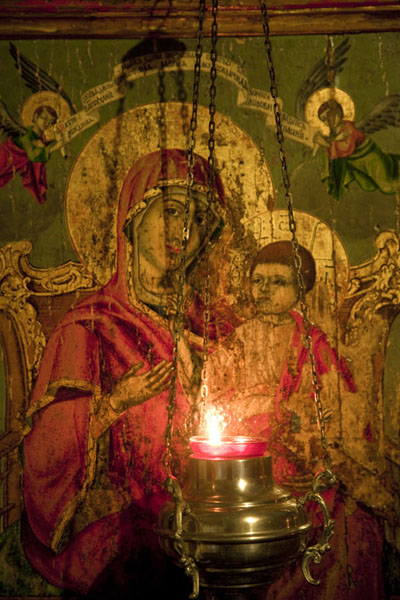 Picture of Oil lamp with detail of the iconostasis in the background - Serbia - Europe
