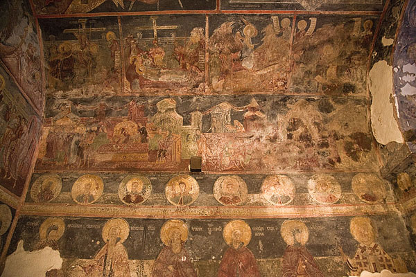 The ceiling of the nave with row of saints | Crna Reka monastery | Serbia