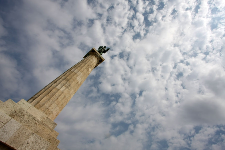 Victor monument, or Pobednik, overlooking the Sava and Danube river, as well as New Belgrade | Kalemegdan | Serbia