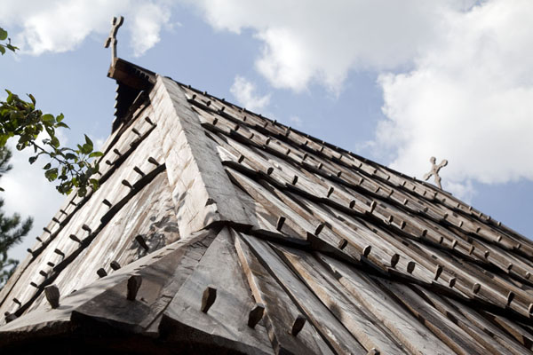 Picture of Roof with crosses on a cottage - Serbia - Europe