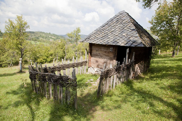 Pigsty with orchard in the background | Sirogojno village museum | Serbia