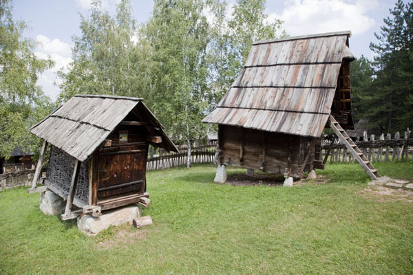 Corn crib and shed in the village museum | Sirogojno village museum | Serbia