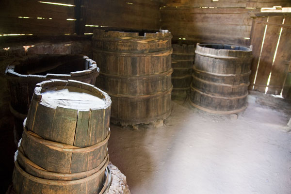 Wooden barrels for various alcoholic drinks | Sirogojno village museum | Serbia