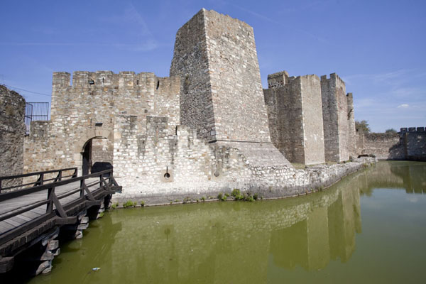 Picture of Smederevo Fortress (Serbia): Bridge leading to inner city gate, with southern wall and water trench