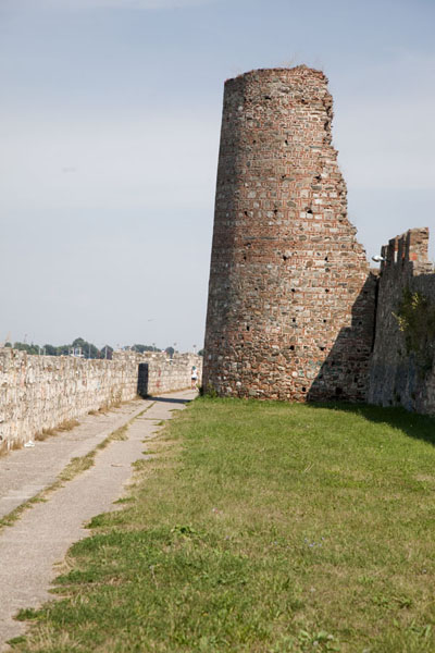 Picture of Smederevo Fortress (Serbia): Northern side of Smederevo Fortress with circular tower