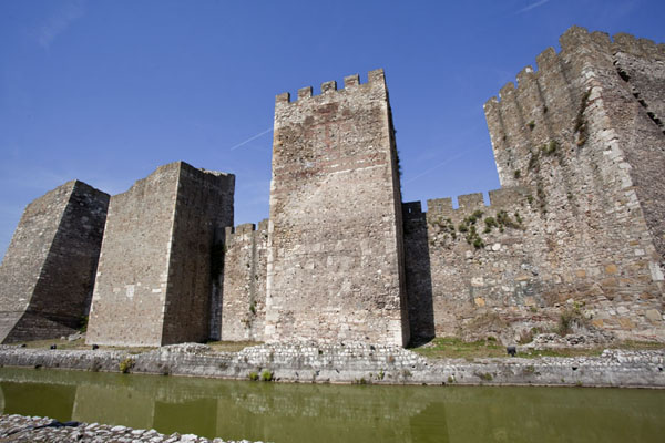 Picture of Smederevo Fortress (Serbia): The southern wall of the inner city with water trench in the foreground