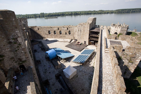 Picture of Smederevo Fortress (Serbia): Part of the inner city seen from a tower with the Danube river in the background