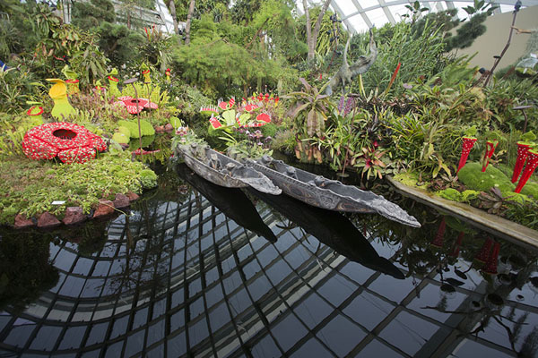 Photo de Wooden canoes, plant and Lego in a small pond on top of the CloudforestGardens by the Bay - Singapour