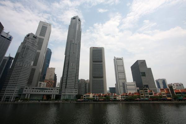 Singapore skyscrapers towering over Boat Quay | Singapore River | Singapore