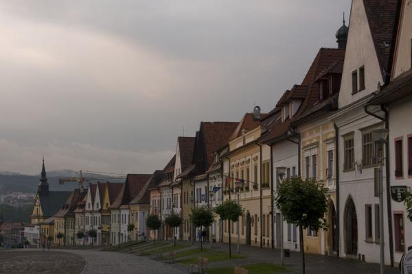 Side view of a row of medieval houses at sunset | Bardejov Old Town | Slovakia