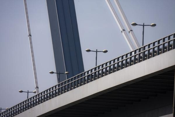 Top layer of the New Bridge, for traffic, with lanterns, and pillar | Bratislava New Bridge | Slovakia