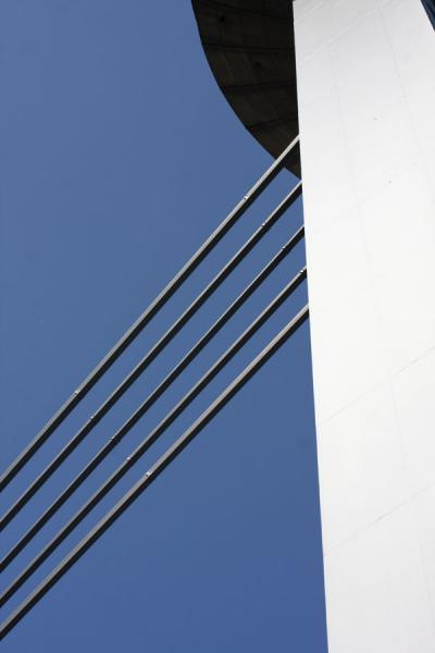 Steel cables and part of the UFO restaurant | Bratislava New Bridge | Slovakia