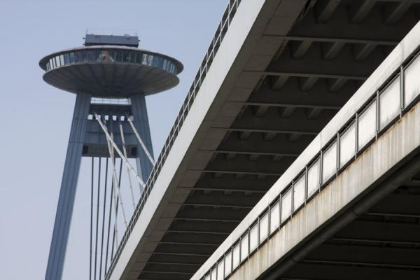 Two layers of the New Bridge with the UFO in the background | Bratislava New Bridge | Slovakia
