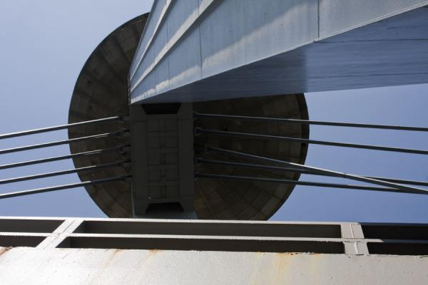 Steel structure of the New Bridge seen from below | Bratislava New Bridge | Slovakia
