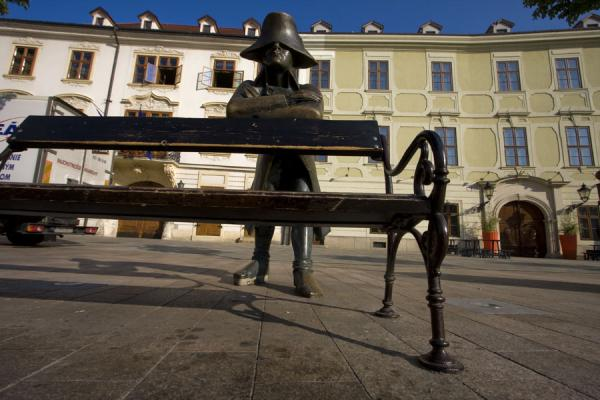 Picture of Bratislava Old Town (Slovakia): Looking up sculpture of French soldier with French embassy in the background
