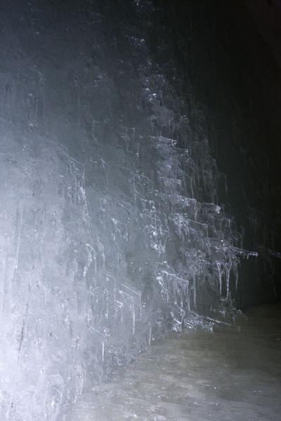 Picture of Bluish ice formation on an ice wall in the cave