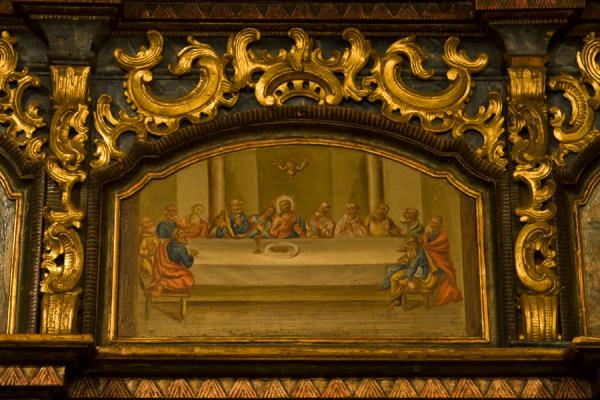 Icon with the Last Supper in the splendid altarpiece of the wooden church of Jedlinka | Protection of Mother of God church | Slovakia