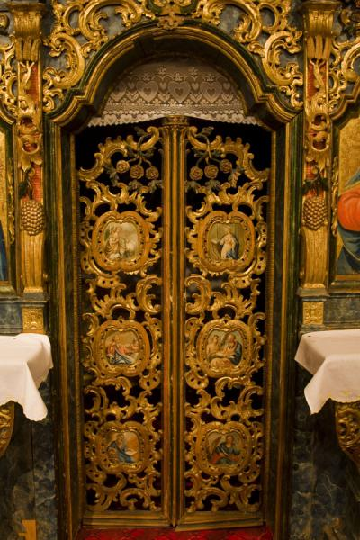 The intricately decorated door in the alter of the Greek Orthodox church of Jedlinka | Protection of Mother of God church | Slovakia