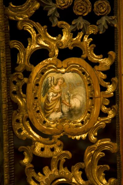 Detail of the door under the alter of the wooden church of Jedlinka | Protection of Mother of God church | Slovakia