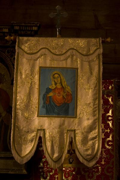 One of the pieces to be used in processions, inside the church | Protection of Mother of God church | Slovakia