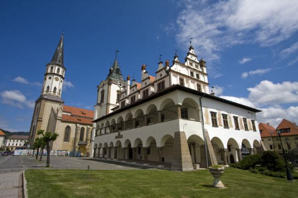 The Town Hall of Levoča in the foreground, and the church of St. James in the background | Levoča Old Town | Slovakia