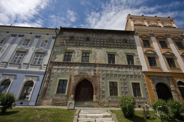 Picture of Levoča Old Town (Slovakia): Each house on Master Pavol square is differently painted