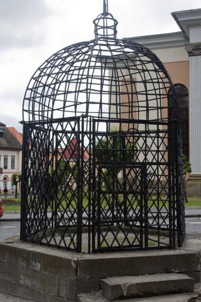 Picture of Cage of Shame: this is where naughty girls and boys were publicly punished in the Middle Ages