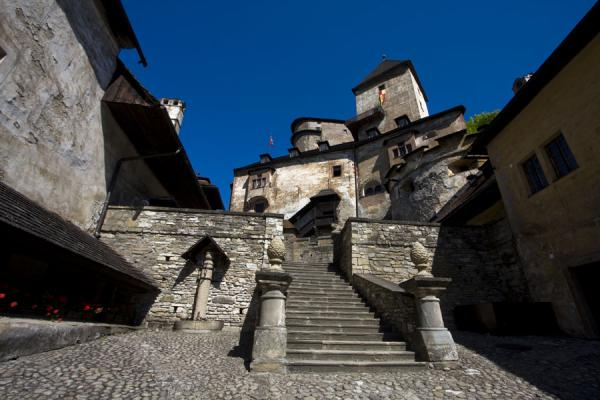 Looking up Orava castle from a lower courtyard | Orava Castle | Slovakia