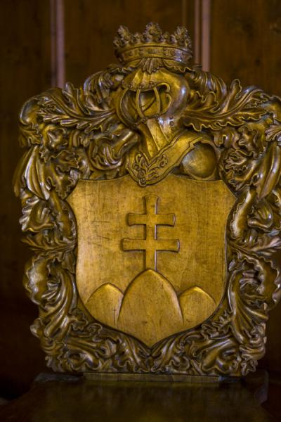Picture of Orava Castle (Slovakia): Slovak cross carved in one of the chairs of Orava castle