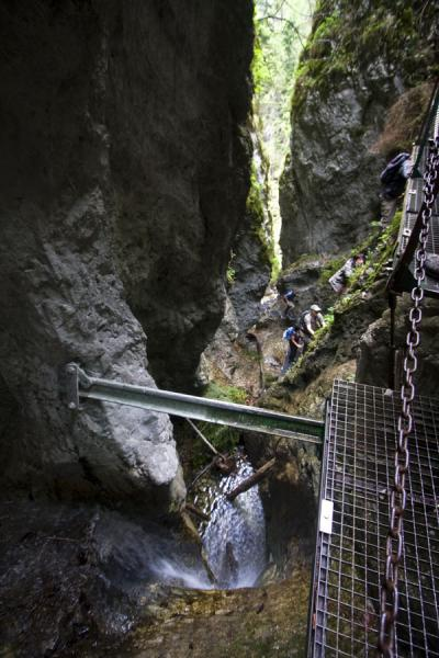 Picture of Slovak Paradise National Park (Slovakia): People climbing a ladder along a waterfall in Slovak Paradise