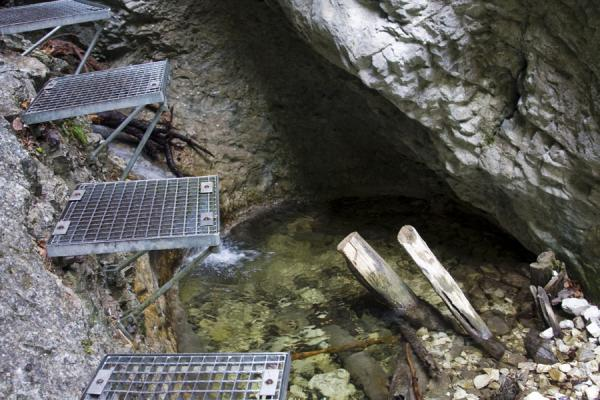 Picture of Slovak Paradise National Park (Slovakia): Hiking past a waterfall using metal steps