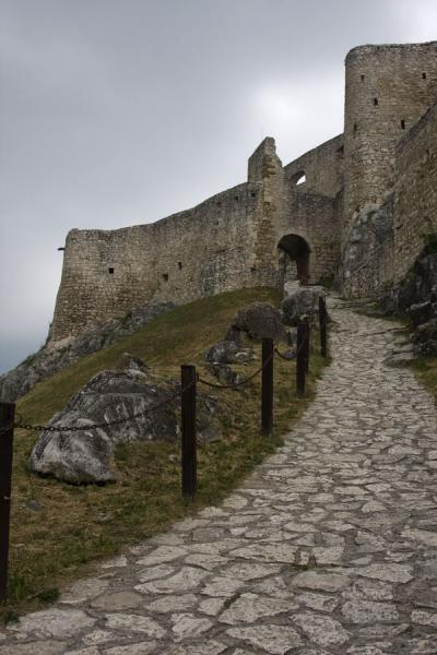 Picture of Spiš Castle (Slovakia): Inside Spiš Castle: stone path with gate