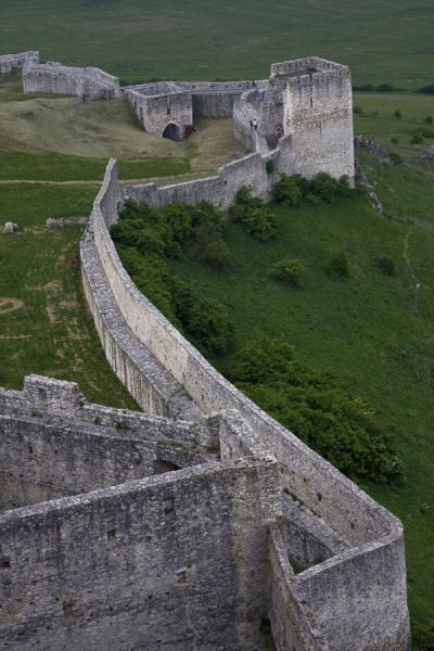 Picture of Spiš Castle (Slovakia): Defensive wall of Spiš Castle seen from above