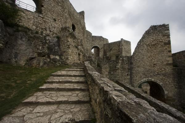Picture of Spiš Castle (Slovakia): Stone stairs lead up to the inner part of Spiš Castle