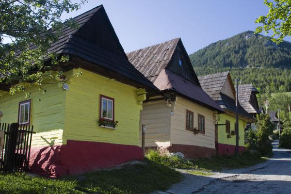 Picture of Vlkolínec (Slovakia): Row of houses typical for Vlkolínec on the main street of the village