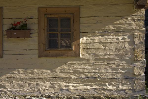 Picture of Late afternoon sunlight on a painted wooden cabin in Vlkolínec with window and flowers