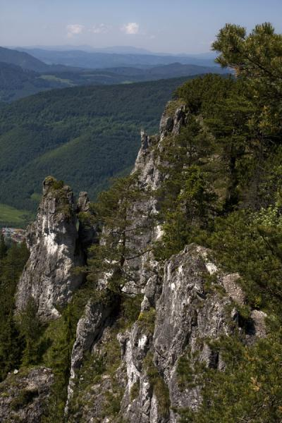 Picture of Vrátna valley (Slovakia): Tree-covered hills appear behind rock formations