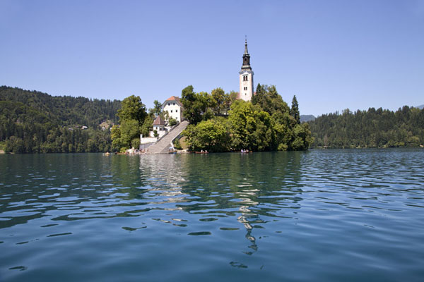 Small island with the iconic church in the middle of Lake Bled | Lake Bled | Slovenia