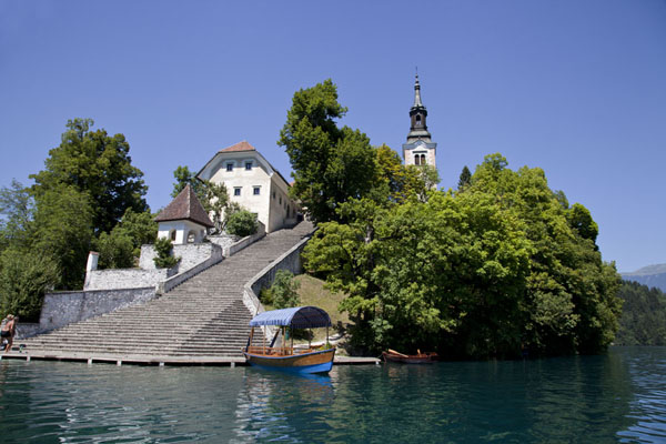 Looking up Bled Island from a boat | Lake Bled | Slovenia