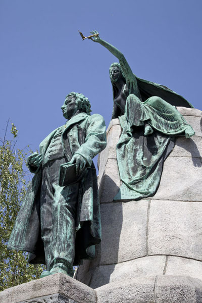 Picture of Ljubljana Old Town (Slovenia): Monument dedicated to Slovenian poet Prešeren, topped by his muse