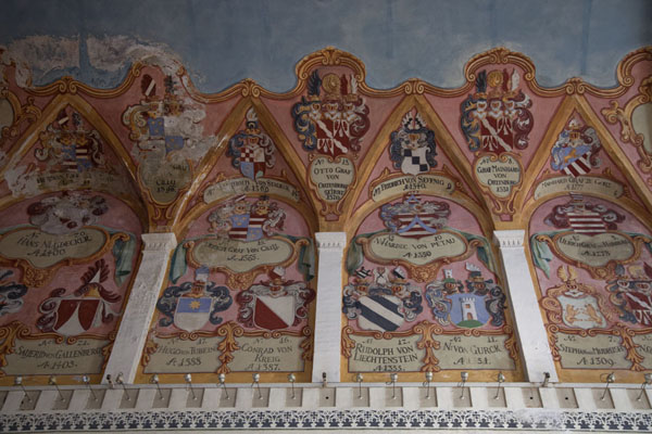 Picture of Ljubljana Old Town (Slovenia): View of the ceiling of the Chapel of St. George, covered in murals